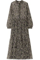 Paul And Joe Horys Floral Print Silk Crepon Maxi Dress Black