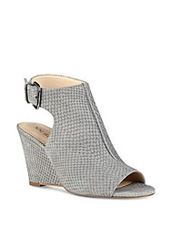 Nine West Gordana Textured Suede Wedges Grey