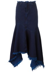 Marques Almeida Marques'almeida Frayed Asymmetric Denim Skirt Blue