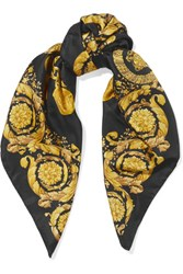 Versace Printed Silk Satin Scarf Black