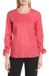 Boss Isolema Stretch Cotton Bow Sleeve Top Lychee Pink