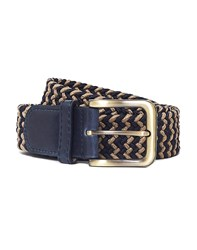 The Idle Man Elastic Weave Belt Tan And Navy