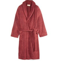 Cleverly Laundry Striped Cotton Terry Robe Red