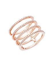 Ef Collection Spiral Diamond And 14K Rose Gold Ring