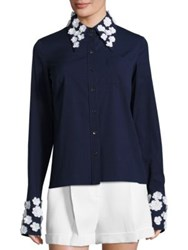 Michael Kors Floral Button Front Shirt Optic White