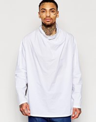 Asos Longline Shirt With Funnel Neck In White White