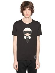 Fendi Karl Studded And Patches Jersey T Shirt