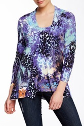 Alberto Makali Printed Pointelle Knit Twinset Cardigan Purple
