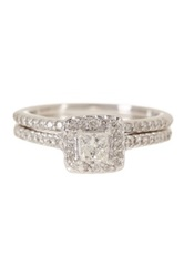 14K White Gold Diamond Wedding Ring Set 0.75 Ctw Metallic