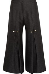 Mother Of Pearl Bennie Faux Embellished Pleated Jacquard Wide Leg Pants Black
