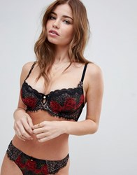 Boux Avenue Dark Rose Embroidery Plunge Bra Black