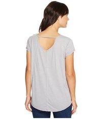 Mod O Doc Heather Jersey Raw Edge Keyhole Back Tee Silver Women's T Shirt