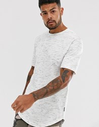Only And Sons Longline T Shirt In White Fleck