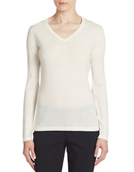 Lord And Taylor Merino Wool Basic V Neck Sweater Ivory