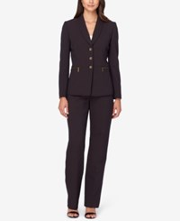 Tahari By Arthur S. Levine Asl Pinstriped Shawl Collar Pantsuit Brown