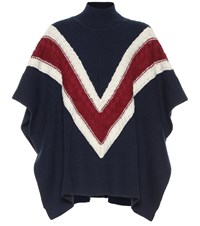 See By Chloe Striped Wool And Cotton Blend Poncho Multicoloured