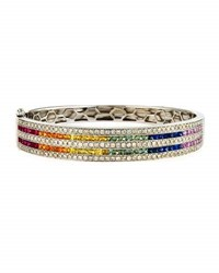Diana M. Jewels 14K Rainbow Sapphire And Diamond Bangle Bracelet