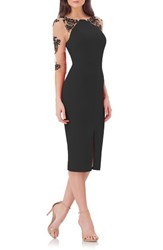 Js Collections Women's Crepe Midi Dress With Tattoo Embroidery