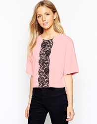 Girls On Film Scuba Top With Lace Strip Pink