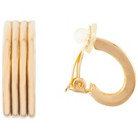 Susan Caplan Vintage 1980S Nina Ricci 22Ct Gold Plated Textured Hoop Clip On Earrings Gold