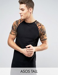 Asos Tall Longline Muscle T Shirt With Camo Print Sleeves Black White