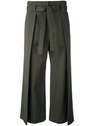 Fabiana Filippi Drawstring Flared Trousers Women Cotton Polyester Spandex Elastane 40 Green