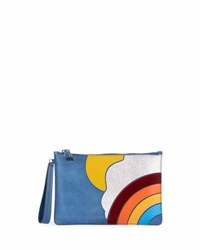 Anya Hindmarch Rainbow And Cloud Suede Zip Pouch Blue