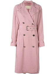 Christian Wijnants 'Jan' Trench Coat Pink And Purple