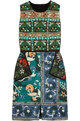 Burberry Embroidered Printed Cotton Blend Dress Blue