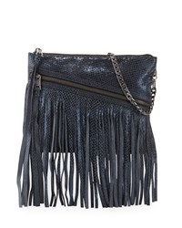 Ash Nikki Metallic Clutch Bag W Fringe Blue