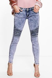 Boohoo Lucy Low Rise Acid Wash Biker Skinny Jeans Dusky Pink