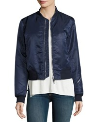 Rag And Bone Morton Satin Bomber Jacket Navy