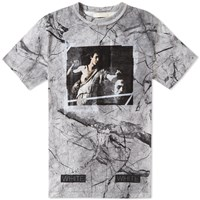 Off White Long Fit Marble Tee Black