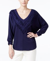 Ny Collection Crochet Fringe Trim Peasant Top Evening Blue