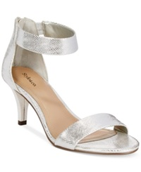 Style And Co. Paycee Two Piece Dress Sandals Women's Shoes Silver