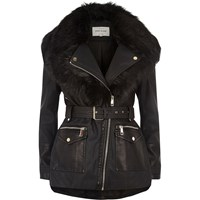 River Island Womens Black Faux Fur Shawl Belted Coat