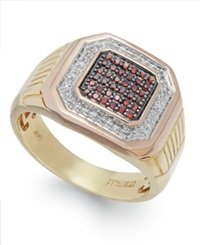 Macy's Men's Two Tone Diamond Ring In 10K Gold 1 4 Ct. T.W.