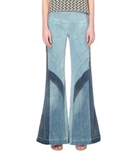 Free People Tidal Wave Flared High Rise Jeans Pale Blue