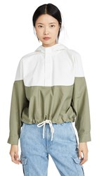 Bassike Contrast Anorak Jacket White Muted Military