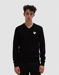 Comme Des Garcons Play White Heart Pullover In Black