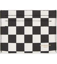 Givenchy Checkerboard Leather Card Holder Blk White