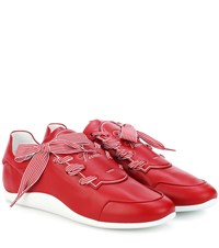 Roger Vivier Striped Ribbon Leather Sneakers Red