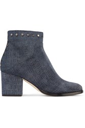 Jimmy Choo Melvin Studded Printed Leather Ankle Boots Indigo