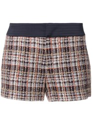 Loveless Plaid Tweed Shorts Brown