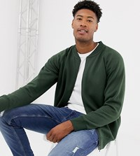 Jacamo Tall Jersey Zip Through Bomber In Green