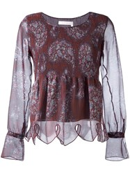See By Chloe Paisley Print Scalloped Blouse Pink Purple