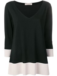 D.Exterior Two Tone Knitted Top Black
