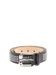 Alexander Mcqueen Skull Buckle And Studded Leather Belt Black