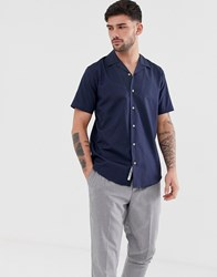 Only And Sons Oxford Shirt With Revere Collar In Navy