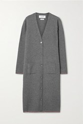 Thom Browne Ribbed Merino Wool Blend Cardigan Gray